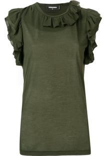 Dsquared2 Blusa Com Acabamento De Babados - Verde