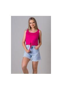 Blusa Sem Manga De Tricot Verão Malhas G'Dom Rosa Pink Frente Com Laço