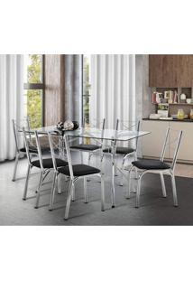 Conjunto De Mesa Tampo Em Vidro Com 6 Cadeiras Virtus Móveis Brastubo Preto/Cromado