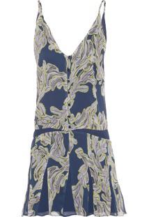 Vestido Curto Alça Nesgas - Azul Marinho