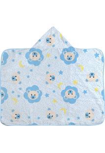Toalha Era Uma Vez De Banho Com Capuz E Forro Ursinho Estrelas Azul, - Azul - Dafiti