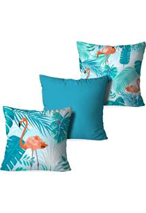 Kit 3 Capas Love Decor Para Almofadas Decorativas Flamingo Blue Multicolorido