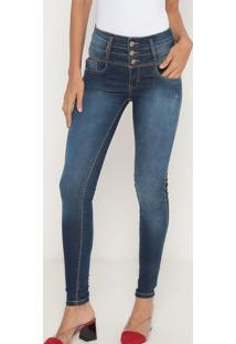 Jeans Gaia Com Recortes- Azul Escuro- Lança Perfumelança Perfume