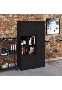 Armário Alto Fechado 3 Portas E Nicho Kuan90 Kuadra Espresso Móveis Preto Onix