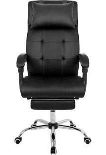 Cadeira Presidente Reclinável Pel-3022 Com Apoios Em Courino Preta - Pelegrin