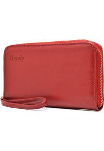 Carteira De Couro Ziper Com Alça Hendy Bag Vermelha - Kanui