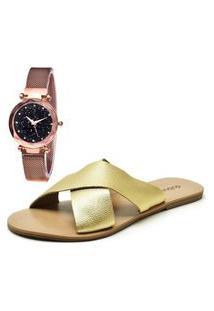 Sandália Com Relógio Gold Feminina Dubuy 2028Mr Ouro