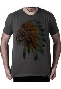 Camiseta Artseries Caveira Índio Apache Grafite