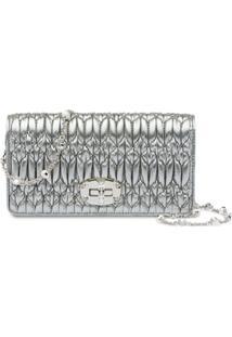 Miu Miu Miu Crystal Matelassé Wallet - Metálico