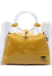 Bolsa Birô Sacola Transparente Feminina - Feminino-Amarelo