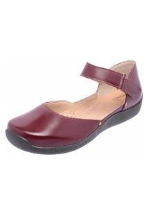 Sapatilha Casual Conforto Em Couro Dr Shoes Vinho