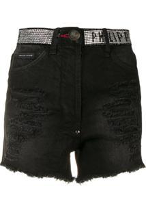 Philipp Plein Short Jeans Destroyed - Preto