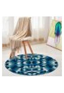Tapete Redondo Wevans Abstrato Azul 94Cm