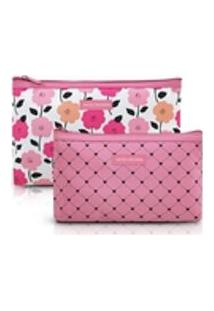 Kit De Necessaire De 2 Peças Pink Lover Rosa - Jacki Design