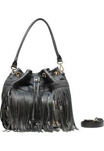 Bolsa Em Couro Transversal Recuo Fashion Bag Preto E Cobra Branco