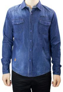 Camisa Jeans Masculina Gangster 15.13.0042 - Masculino-Azul