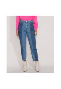 Calça Jeans Feminina Mom Cintura Super Alta Com Recortes Azul Médio