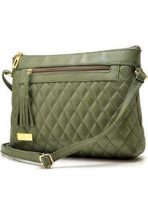Bolsa Transversal De Couro Hendy Bag Feminina - Feminino-Verde Escuro