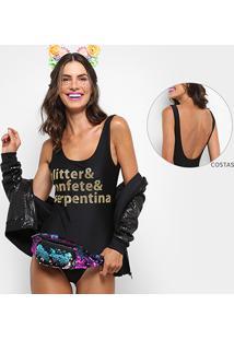 Body Clássico Jkm Glitter & Confete & Serpetina - Feminino-Preto+Dourado