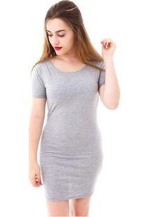 Vestido Moda Vício Ombro A Ombro Feminino - Feminino-Mescla