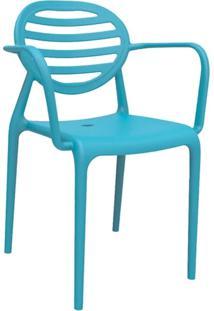 Cadeira Stripe Com Braço Azul