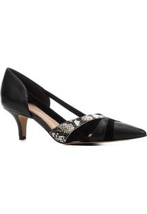 Scarpin Couro Shoestock Salto Baixo Bico Fino Mix Materiais - Feminino-Preto+Off White