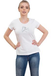 Camiseta Branca Manga Curta Dragão Prata 4Ás