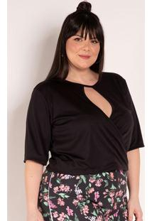 Blusa Preta Com Transpasse Plus Size