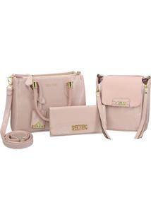 Bolsa Transversal Com Bolsa Pequena E Carteira Rosa Selten