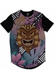 Camiseta Longline Long Beach Totem Floral Rei Sublimada Roxo