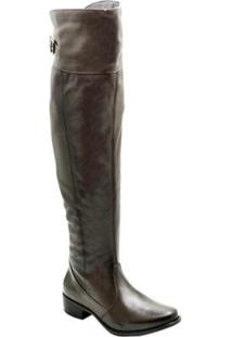 Bota Over The Knee Couro D&R Shoes Feminina - Feminino-Café