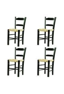 Kit 4 Cadeiras Lagiana Pequenas Eucalipto Preta Assento Palha - 59470 Preto