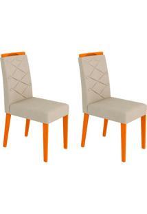 Conjunto Com 2 Cadeiras Caroline Ipê E Creme