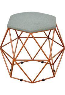 Puff Decorativo Aramado Bronze Six Linho Cinza Escuro - Lyam Decor