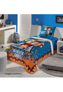 Edredom Authentic Gamesâ® Solteiro- Azul Escuro & Laranjalepper