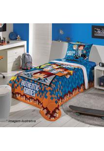 Edredom Authentic Gamesâ® Solteiro- Azul Escuro & Laranjalepper