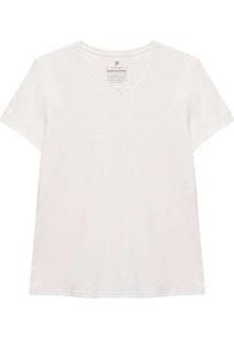 Camiseta Reta Feminina Gola V Anti Odor Branco