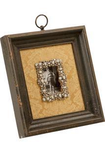 Porta-Retrato De Madeira Decorativo Ricordare Com Pedras