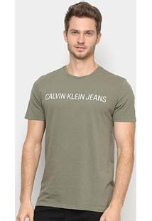 Camiseta Calvin Klein Ckj Masculina - Masculino-Verde Militar