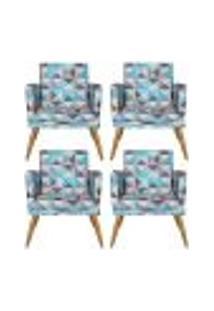 Conjunto 4 Poltronas Decorativa Com Rodapé Nina Triângulo Azul