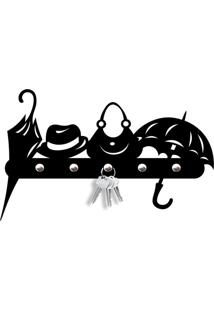 Porta Chaves Objetos Love Decor Preto - Kanui