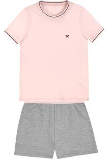 Pijama Feminino Em Malha De Algodão Com Retilínea