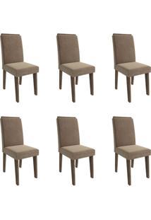 Conjunto Com 6 Cadeiras De Jantar Milena Suede Marrocos E Pluma