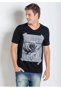 Camiseta Preta Com Estampa Faith Trust Power