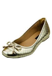 Sapatilha Bico Quadrado Love Shoes Confort Matelasse Laçinho Metalizado Ouro