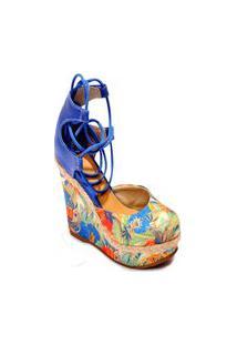 Sandália Azul Plataforma Alta Estampada Floral Anabela Sylt
