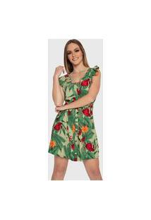 Vestido Carbella Verde Floral Com Babados Botões Casual