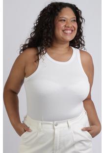 Regata Feminina Mindset Plus Size Decote Redondo Branca