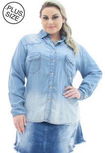 Camisa Feminina Jeans Com Bolso Plus Size