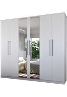 Guarda-Roupa Casal 6 Portas C/ 2 Espelhos 100% Mdf Branco Foscarini